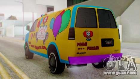 GTA 5 Vapid Clown Van para GTA San Andreas left