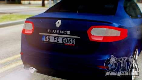 Renault Fluence King para GTA San Andreas vista hacia atrás