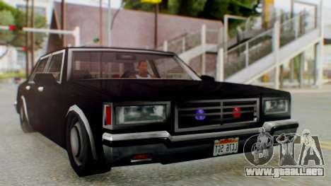 Unmarked Police Cutscene Car Stance para GTA San Andreas vista posterior izquierda