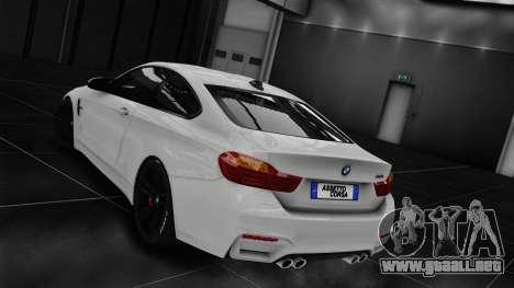 BMW M4 F82 2015 para GTA 4 Vista posterior izquierda