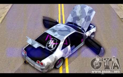 Nissan Skyline R33 Drift para vista inferior GTA San Andreas