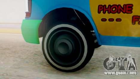 GTA 5 Vapid Clown Van para GTA San Andreas vista posterior izquierda