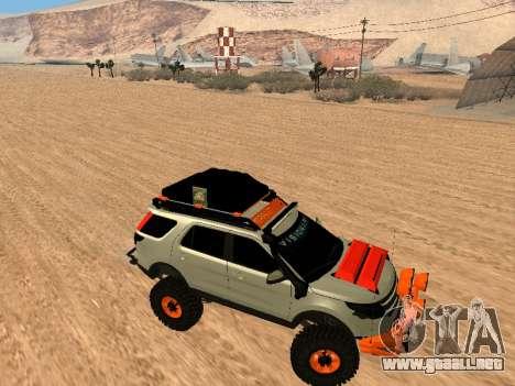 Ford Explorer 2013 Off Road para GTA San Andreas vista hacia atrás
