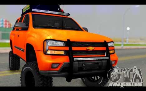 Chevrolet Traiblazer Off-Road para GTA San Andreas vista hacia atrás