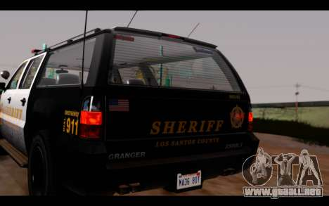 GTA 5 Declasse Sheriff Granger IVF para GTA San Andreas vista hacia atrás
