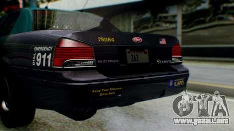 GTA 5 Vapid Stanier II Police IVF para visión interna GTA San Andreas