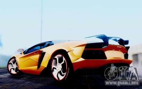 Lamborghini Aventador Mansory Carbonado Color para GTA San Andreas vista posterior izquierda