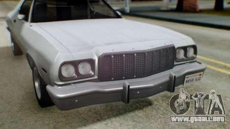 Ford Gran Torino 1974 IVF para vista inferior GTA San Andreas