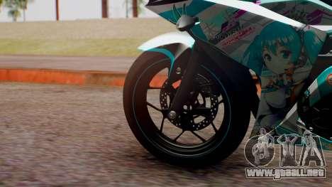 Yamaha R25 2015 EV Mirai Miku Racing 2013 para GTA San Andreas vista posterior izquierda