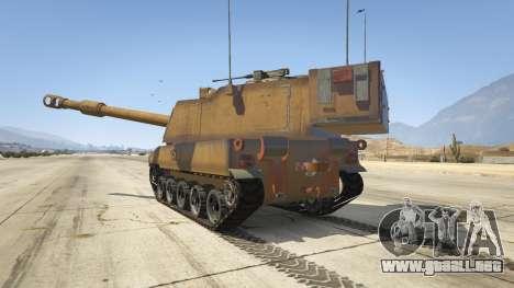 GTA 5 M109 (SAU) Paladin vista lateral izquierda trasera