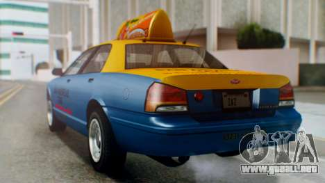 Vapid Taxi with Livery para GTA San Andreas left