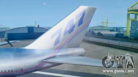 Boeing 747-400 Prototype (N401PW) para GTA San Andreas vista posterior izquierda