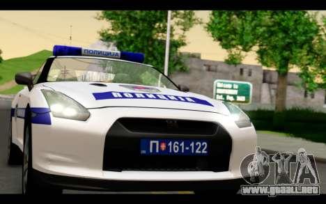 Nissan GT-R Policija para GTA San Andreas vista posterior izquierda