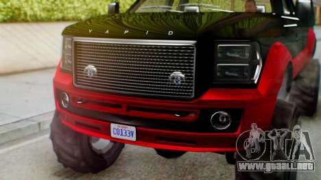 GTA 5 Vapid Sandking SWB IVF para GTA San Andreas vista hacia atrás