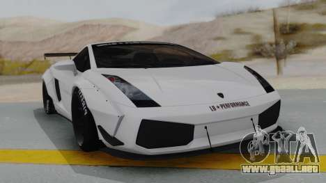 Lamborghini Gallardo 2005 LW LB Performance para la visión correcta GTA San Andreas