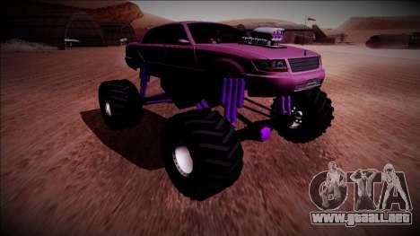 GTA 4 Washington Monster Truck para GTA San Andreas vista posterior izquierda