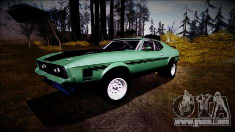 1971 Ford Mustang Rusty Rebel para GTA San Andreas vista posterior izquierda