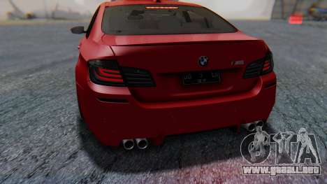 BMW M5 2012 Stance Edition para GTA San Andreas interior