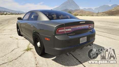 GTA 5 2012 Unmarked Dodge Charger vista lateral izquierda trasera