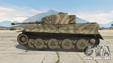 GTA 5 Panzerkampfwagen VI Ausf. E Tiger vista lateral trasera derecha