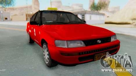Toyota Corolla Dollar Taxi para GTA San Andreas vista posterior izquierda