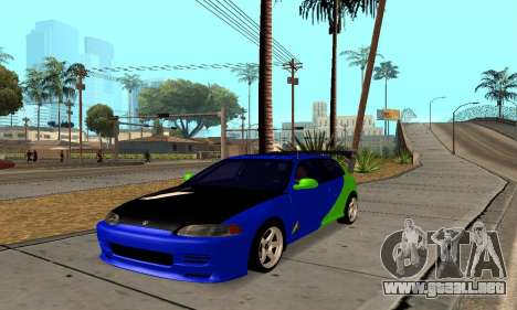 Honda Civic EG6 Tunable para GTA San Andreas vista posterior izquierda