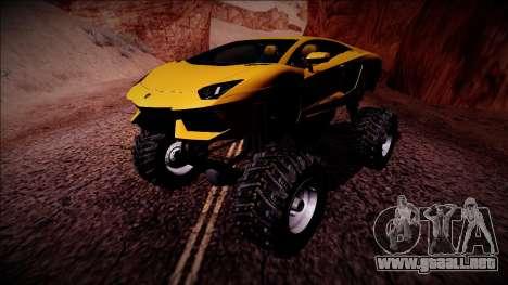 Lamborghini Aventador Monster Truck para GTA San Andreas left