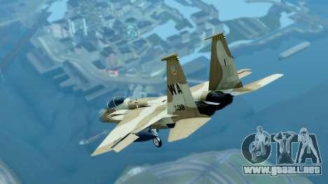 McDonnell Douglas F-15E Aggressor Desert para GTA San Andreas vista posterior izquierda