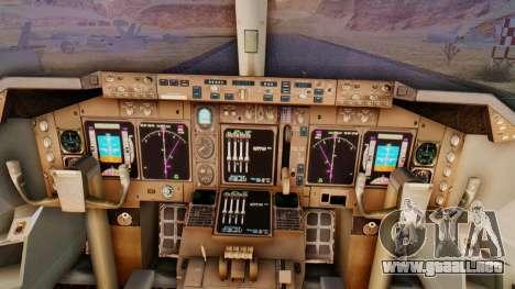 Boeing 747-428 Ed Force One para GTA San Andreas vista hacia atrás