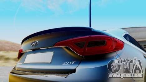 Hyundai Sonata Turbo 2015 para GTA San Andreas vista hacia atrás