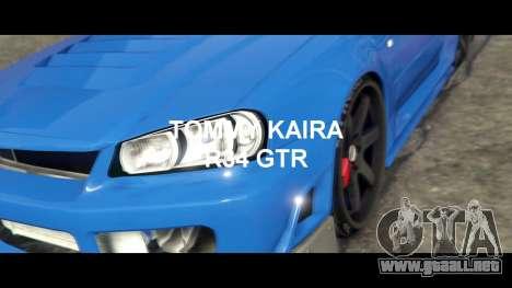 GTA 5 Nissan Skyline R34 Tommy Kaira vista lateral trasera derecha