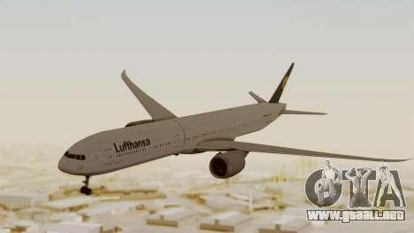 Boeing 777-9x Deutsche Lufthansa para GTA San Andreas vista posterior izquierda