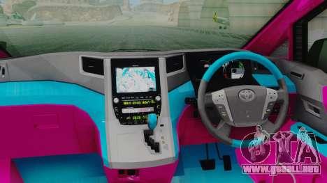 Toyota Vellfire Miku Pocky Exhaust para GTA San Andreas vista hacia atrás