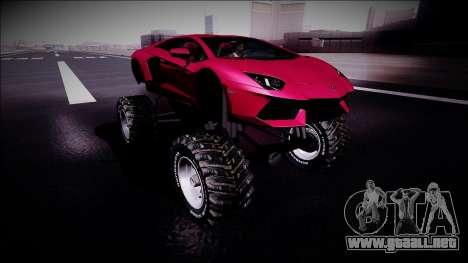 Lamborghini Aventador Monster Truck para la visión correcta GTA San Andreas