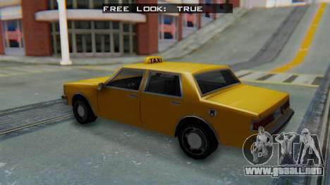 Taxi Version of LV Police Cruiser para GTA San Andreas vista posterior izquierda