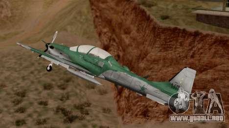 A-29B Embraer Super Tucano para GTA San Andreas vista posterior izquierda