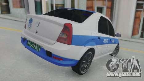 Dacia Logan Iranian Police para GTA San Andreas vista posterior izquierda