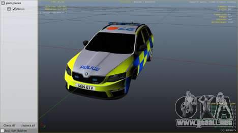 GTA 5 2014 Police Skoda Octavia VRS Estate vista lateral derecha