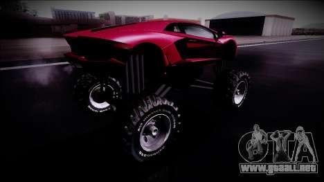 Lamborghini Aventador Monster Truck para GTA San Andreas vista posterior izquierda