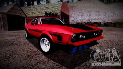 1971 Ford Mustang Rusty Rebel para vista lateral GTA San Andreas