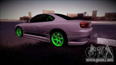 Nissan Silvia S15 Drift Monster Energy para GTA San Andreas vista posterior izquierda