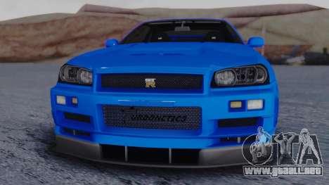 Nissan Skyline R34 Full Tuning para la visión correcta GTA San Andreas