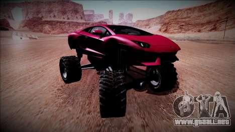 Lamborghini Aventador Monster Truck para GTA San Andreas vista hacia atrás