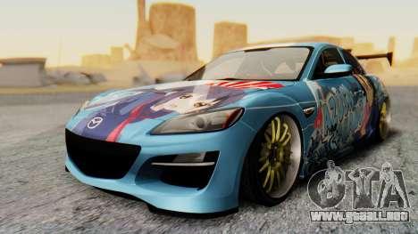 Mazda RX-8 Itasha para la visión correcta GTA San Andreas