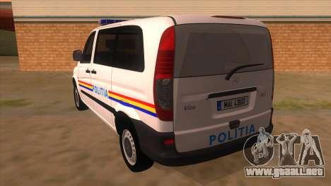 Mercedes Benz Vito Romania Police para GTA San Andreas vista posterior izquierda