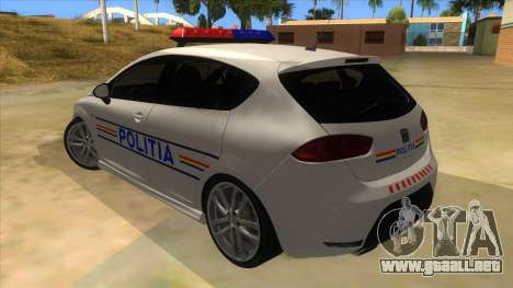 Seat Leon Cupra Romania Police para GTA San Andreas vista posterior izquierda