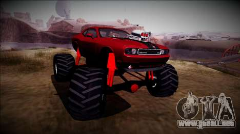 2009 Dodge Challenger SRT8 Monster Truck para GTA San Andreas vista hacia atrás