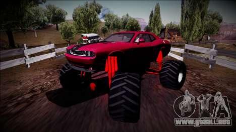 2009 Dodge Challenger SRT8 Monster Truck para GTA San Andreas vista posterior izquierda