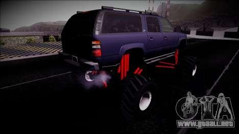 2003 Chevrolet Suburban Monster Truck para GTA San Andreas vista posterior izquierda