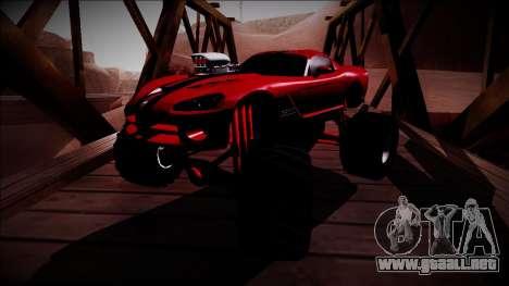 Dodge Viper SRT10 Monster Truck para GTA San Andreas vista hacia atrás
